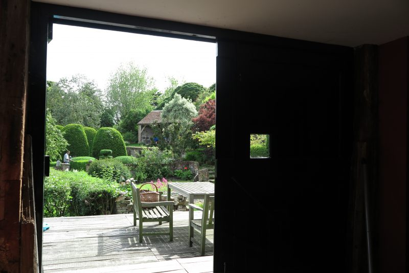 Tom Croft's garden framed by barn doors.