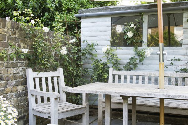 Choose pale, romantic colours for your shed.