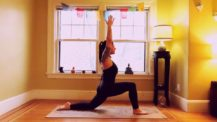 Woman in knee-down low lunge (yoga pose)