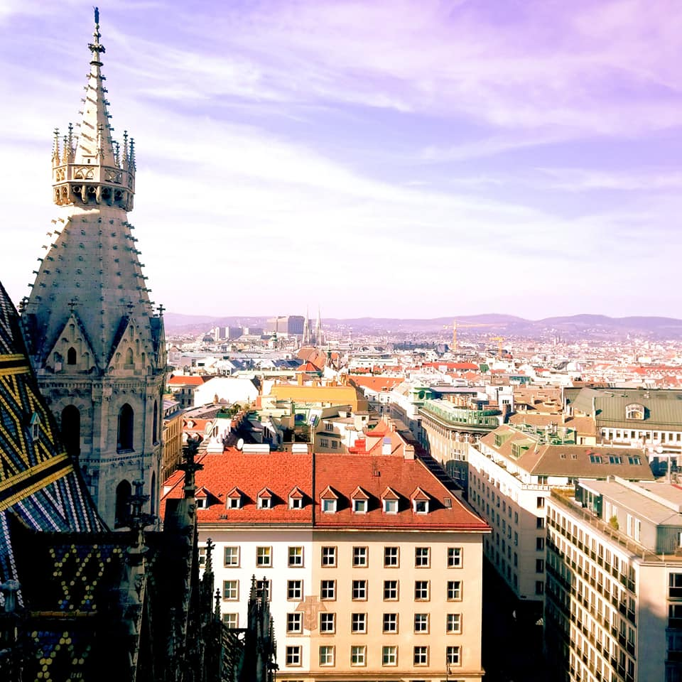 Hazy purple skies over Viennese rooftops from St. Stephen's Cathedral.