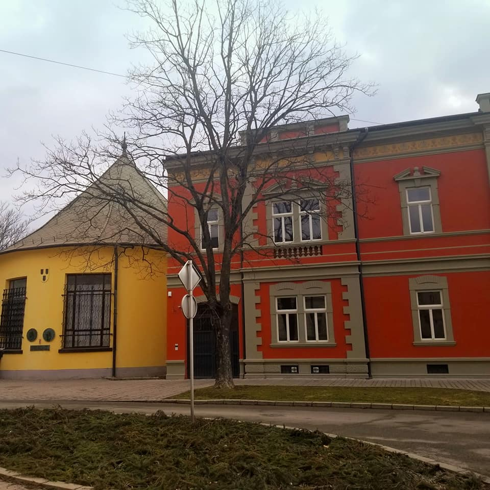 In Kosice, Slovakia: Round yellow building with a conical roof adjacent to a red building with tan trim. In front of the building there is a street sign and a large tree with no leaves. The sky is bleak and dreary looking and the street in front of the buildings are cobblestone.