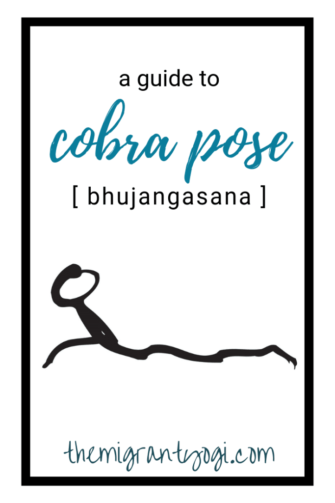 stick figure of a person doing cobra pose (yoga) with the text 'a guide to cobra pose (bhujangasana)'