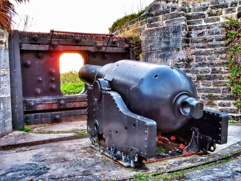 Cannon aimed through a cannon hole at Alexandra Battery in St. George's, Bermuda