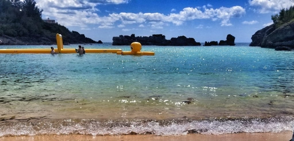 Inflatable water toys in the water at Tobacco Bay in St. George's, Bermuda