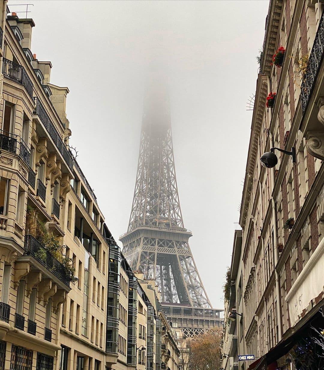 Foggy Eiffel Tower on Rue de Montessuy