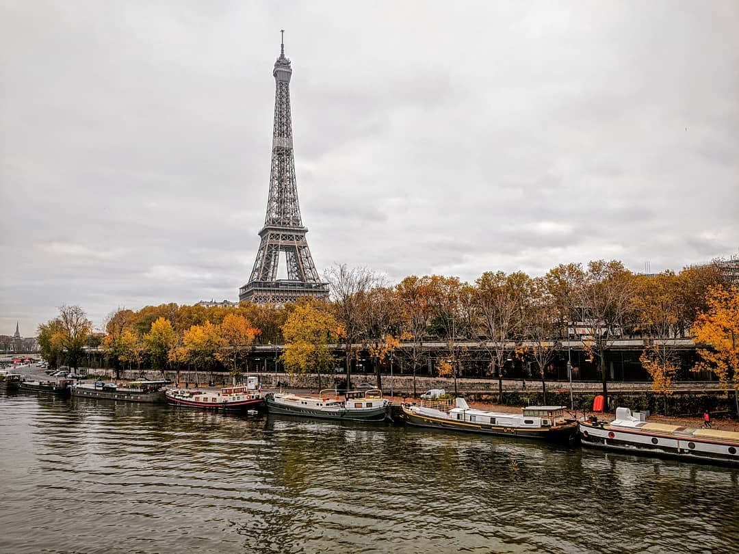 View of the Eiffel Tower and the Seine from Pont Bir-Hakeim