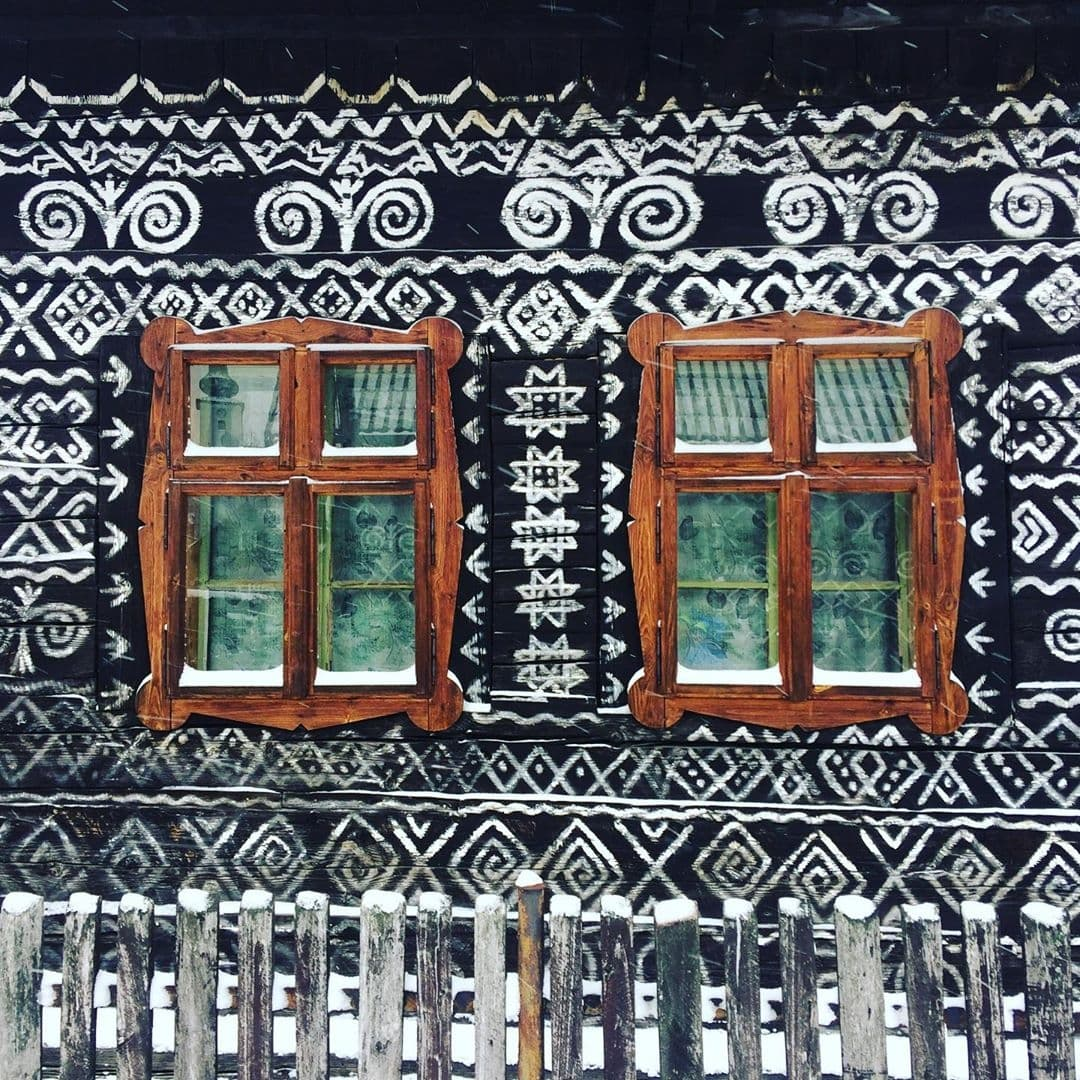 Painted village  house in Slovakia