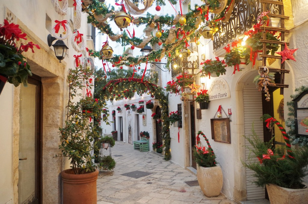 Streets of Locorotondo, Italy decorated for Christmas