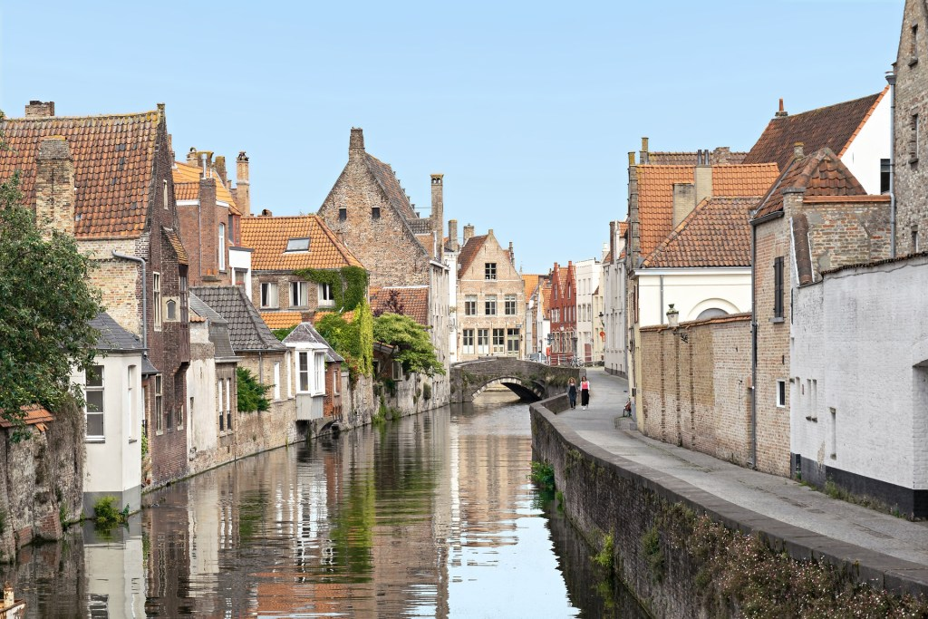Overlooking an iconic canal in Bruges, Belgium.