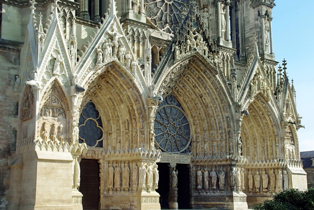Intricate outer façade of Reims Cathedral.