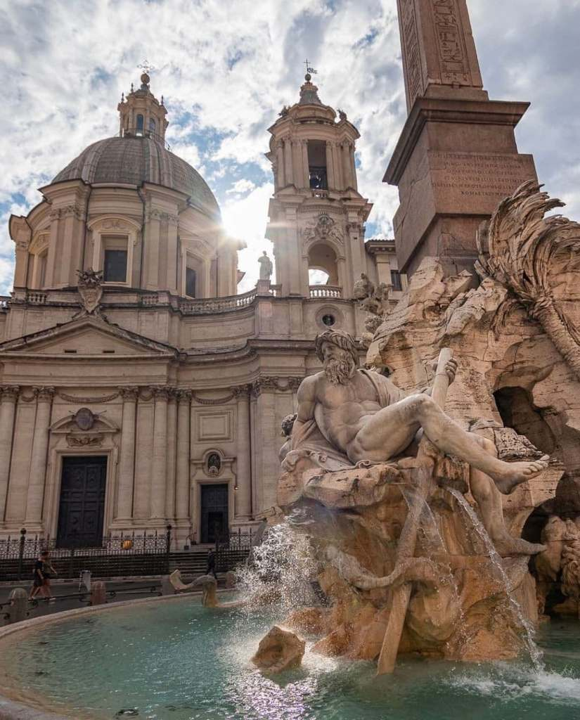 Close-up of the Fountain of Four Rivers in Piazza Navona, Rome, Italy.