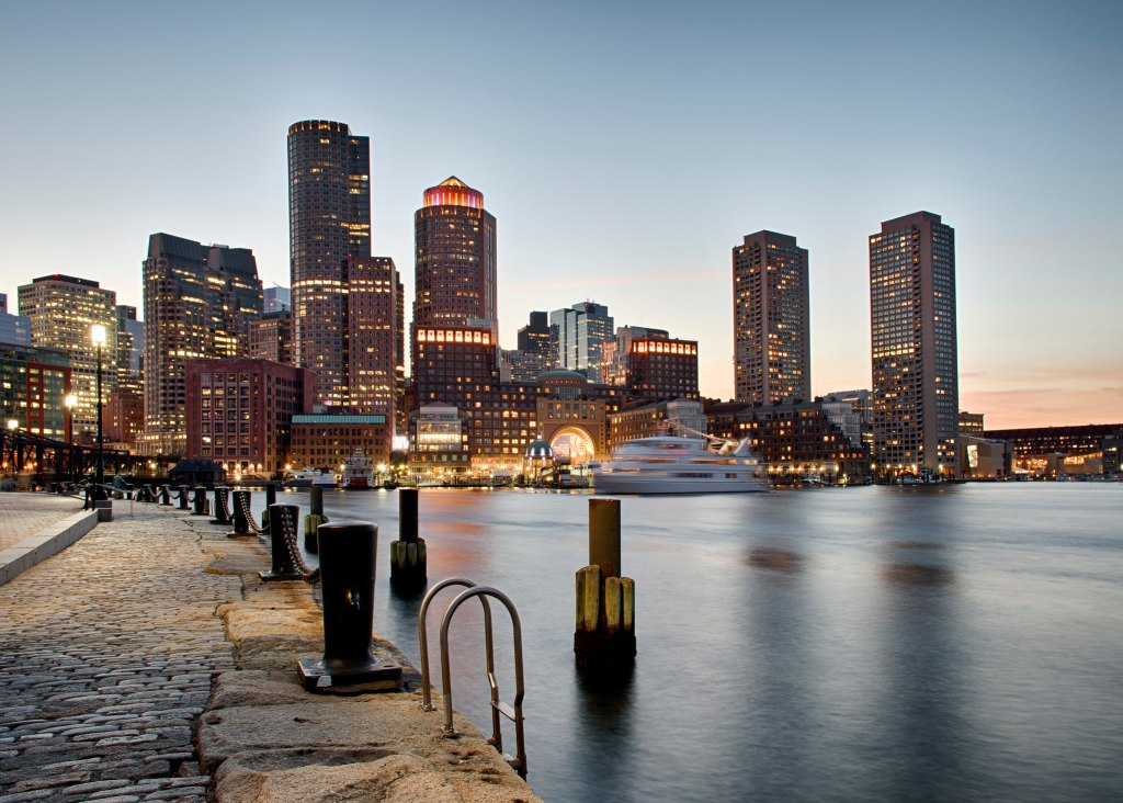 Boston skyline over the harbor, a great daytrip or weekend getaway from New York City.