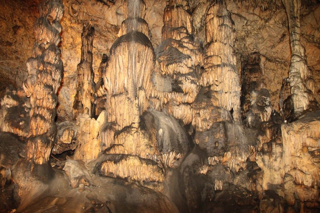 Stalagtite and Stalagmites in a cave in Aggtelek National Park in Hungary.