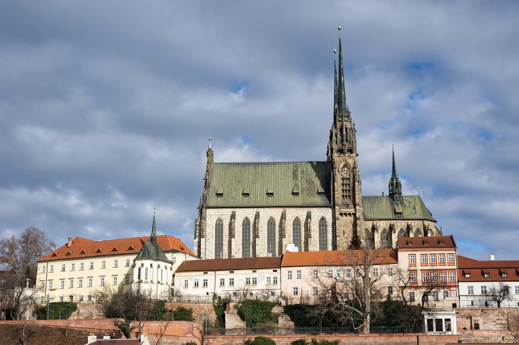 Brno, Czech Republic buildings under cloudy skies.