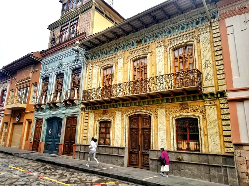 Gorgeous colonial architecture in the historic center of Cuenca, Ecuador.