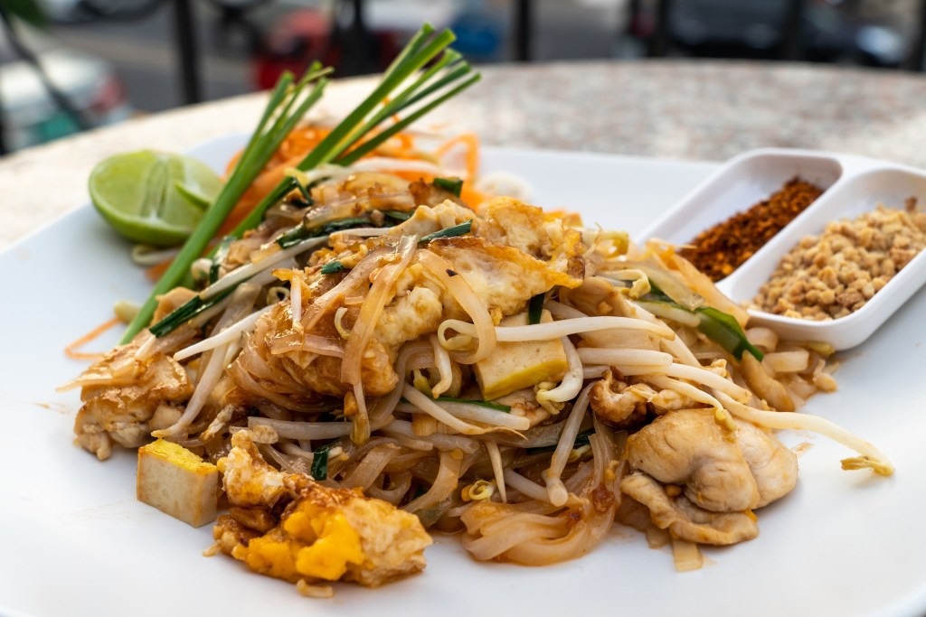Plate of pad thai, a traditional Thai noodle dish that is available in one of the virtual cooking classes.