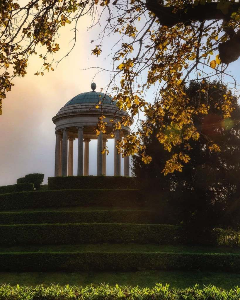 Domed marble gazebo in Parco Querini, Vicenza, Italy.
