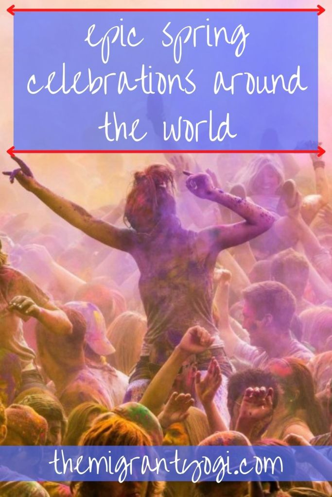 Pinterest image of crowd during Holi festival with text: 20 incredible worldwide spring celebrations