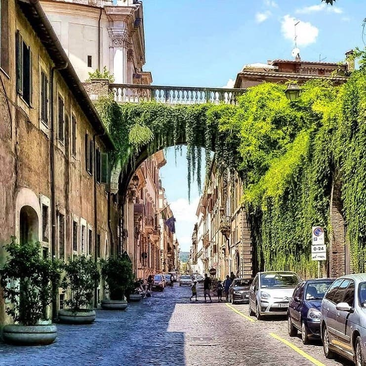 Large ivy covered arch over a cobblestone street in Rome.