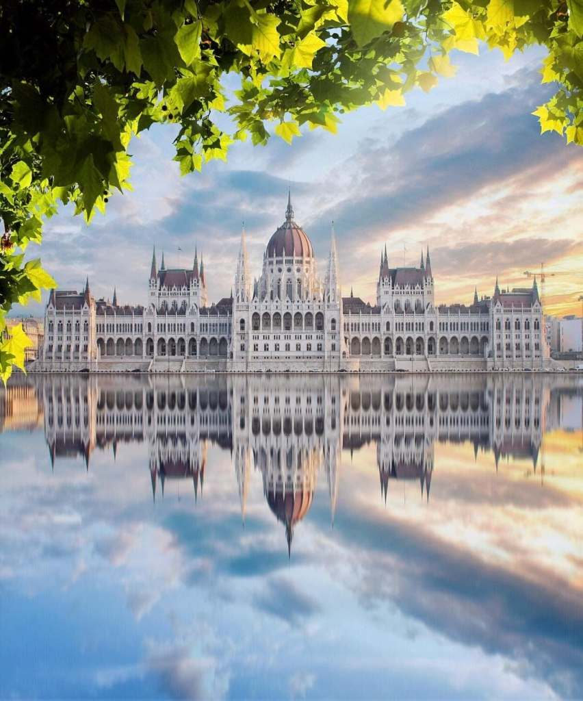 Budapest's Parliament building is reflected in the water below with some light green leaves framing the photo.