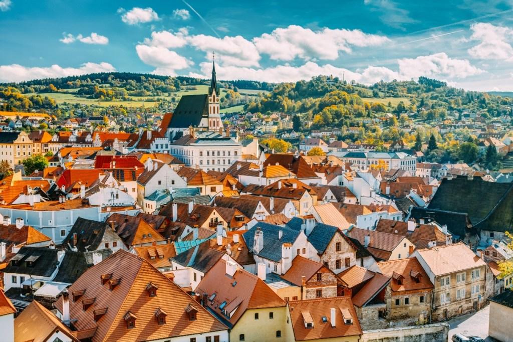 Red rooftops of Cesky Krumlov, Czech Republic