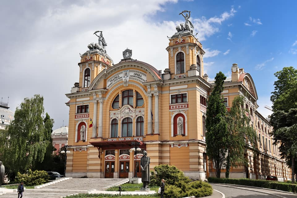 Exterior of the Romanian National Opera House in Cluj-Napoca, Romania, one of the most famous buildings in the city.