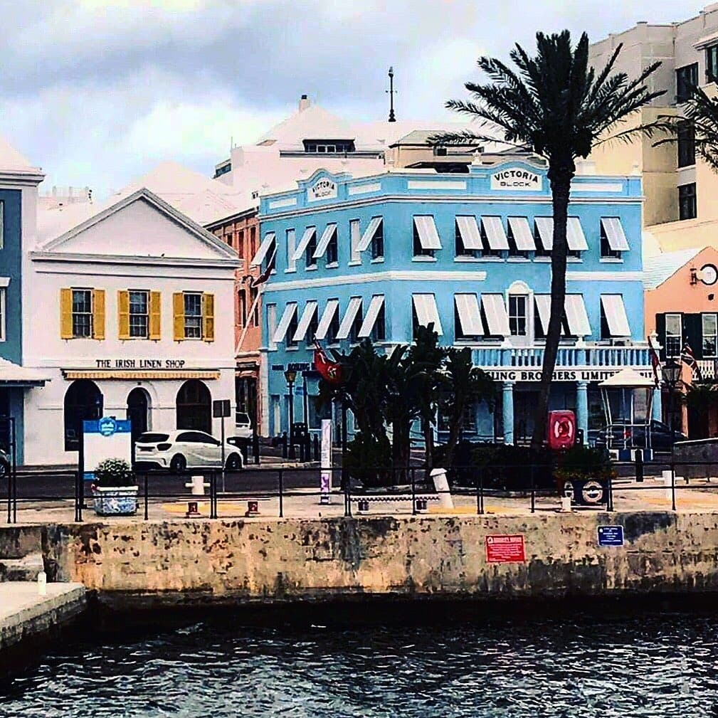 Colorful buildings lining Front Street in Hamilton, Bermuda