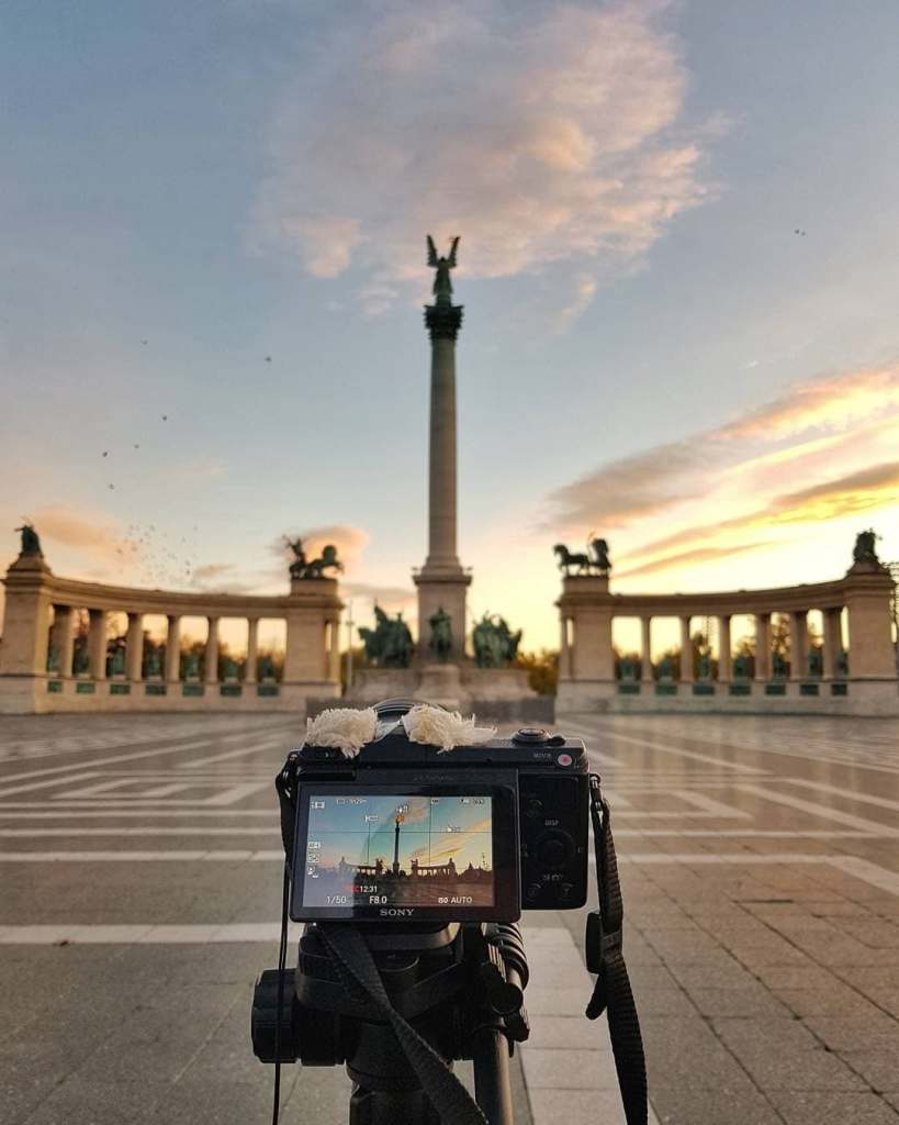 View of Hero's Square in Budapest as seen through another camera lens.