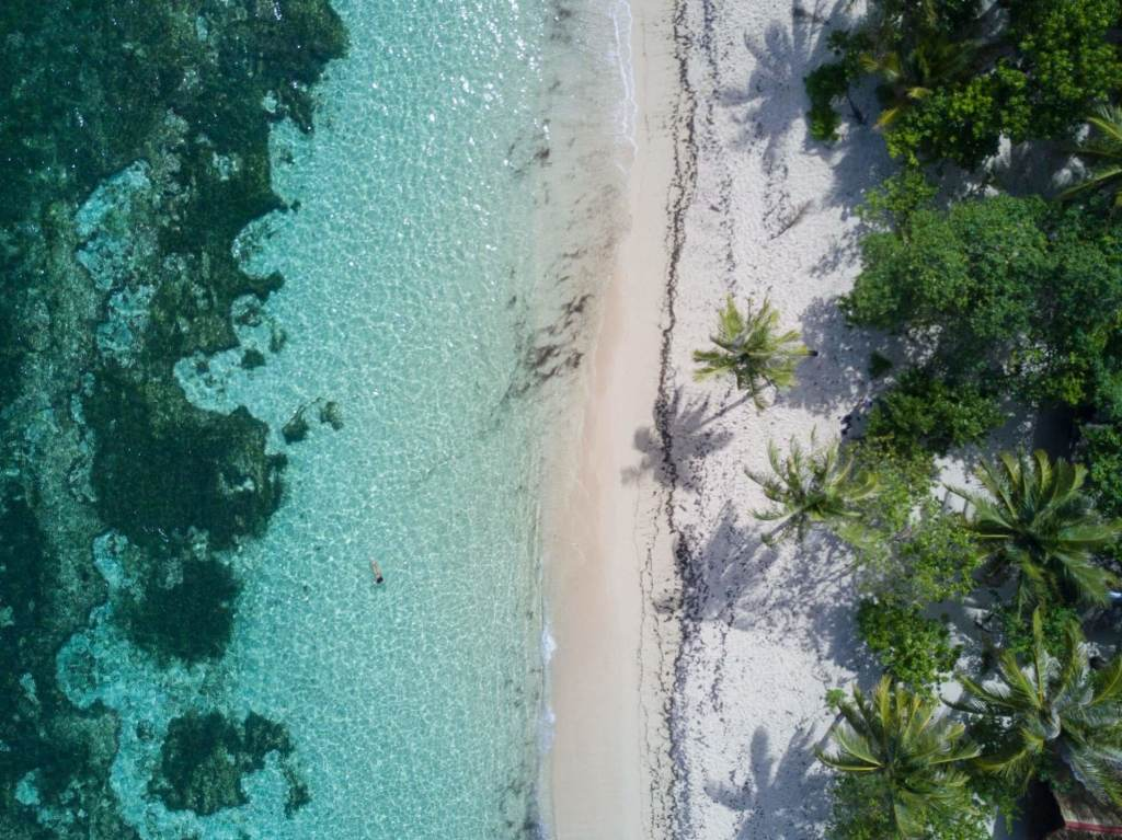 A beach in Siargao, Philippines, as seen from a drone perspective.