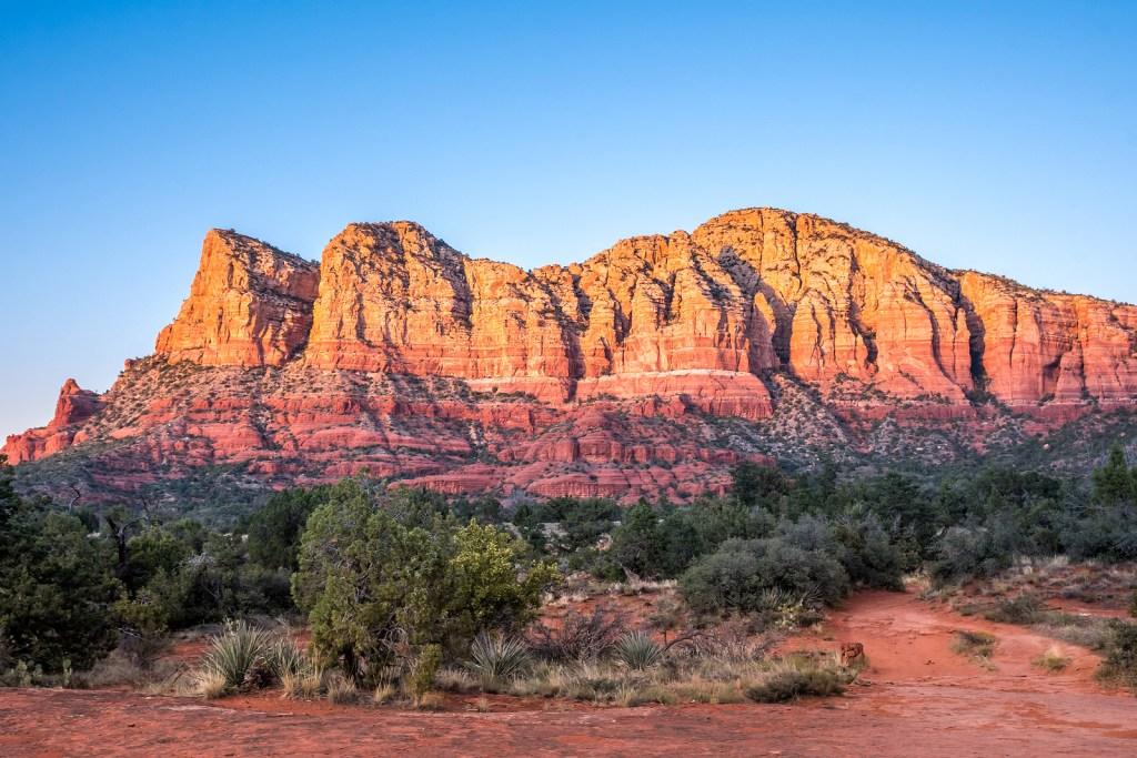 Red rock formations in Sedona, Arizona, a hotspot for spiritual vortices and international yoga destination.