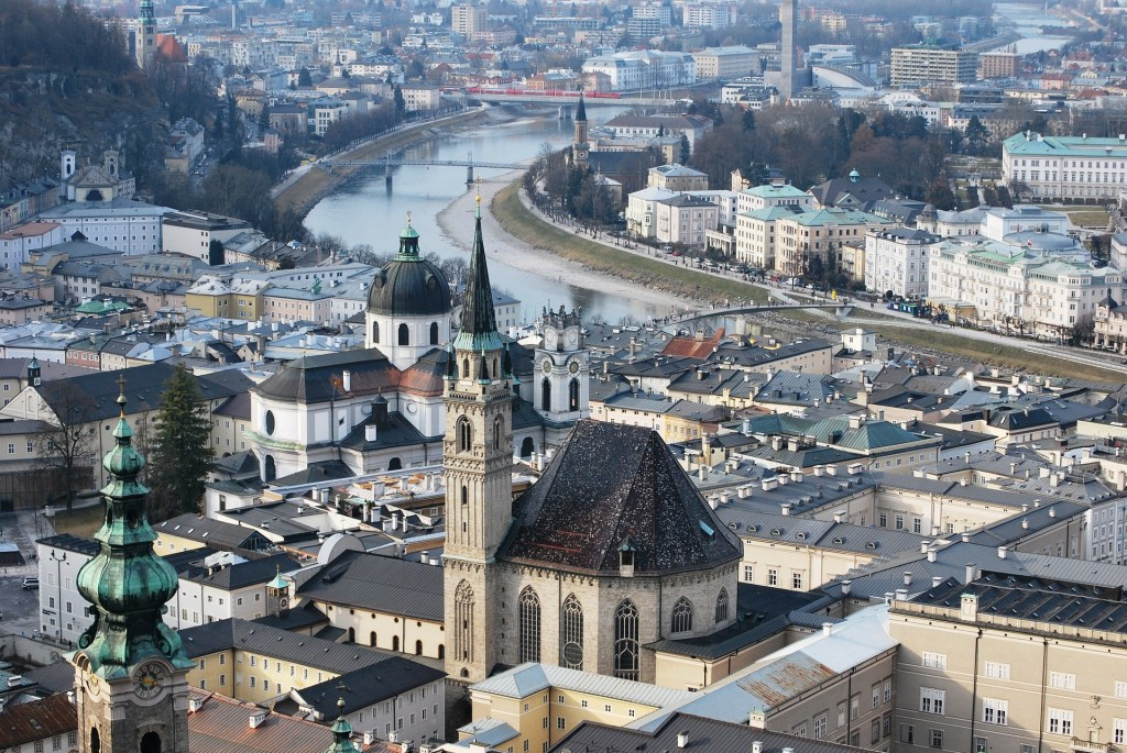 Aerial view of Salzburg, Austria in winter.  A good day trip to take from Vienna.