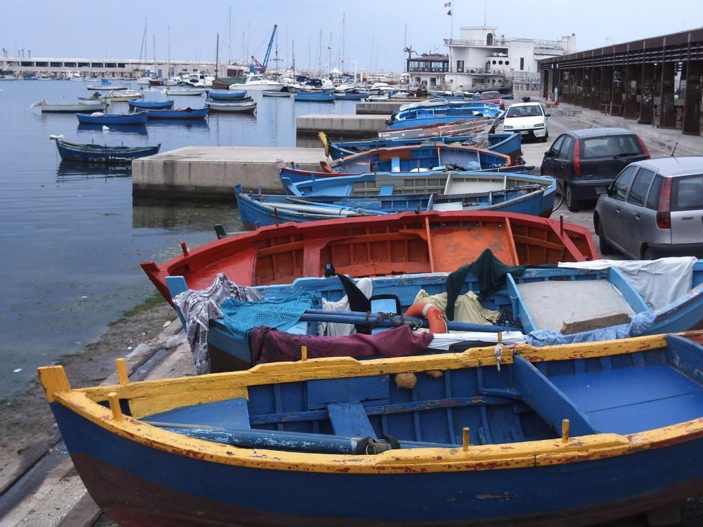 Boats docked in the Port City of Bari, Italy.
