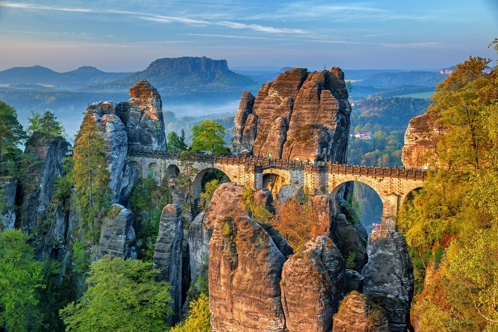 Bastei bridge in the Elbe Sandstone Mountains, one of the ost magical natural wonders in Germany.