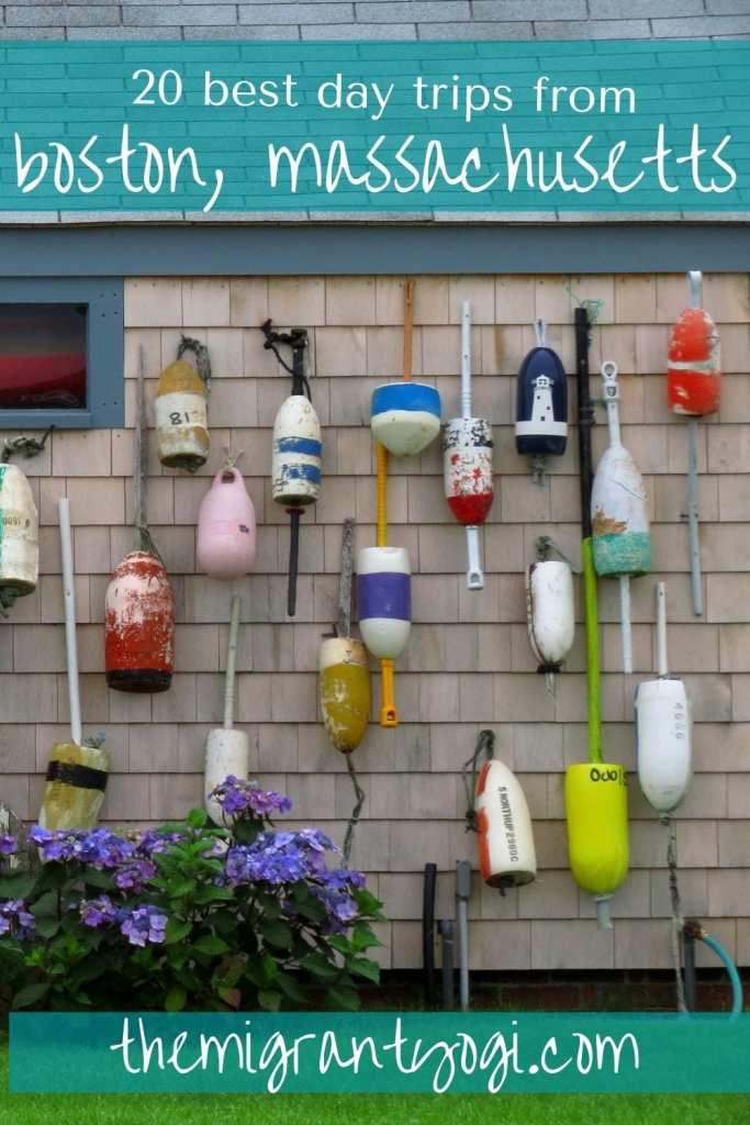 Boston Day Trips Pinterest Graphic, buoy-covered house in Nantucket
