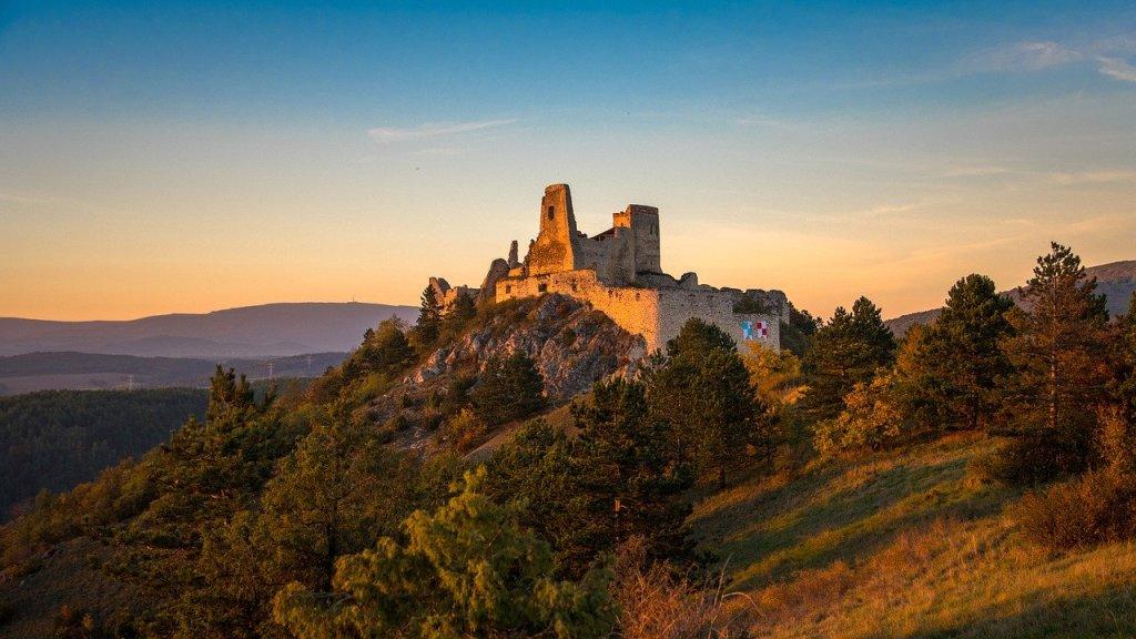 Cachtice Castle ruins in Slovakia; sunset, golden hour.  Slovakia bucket list