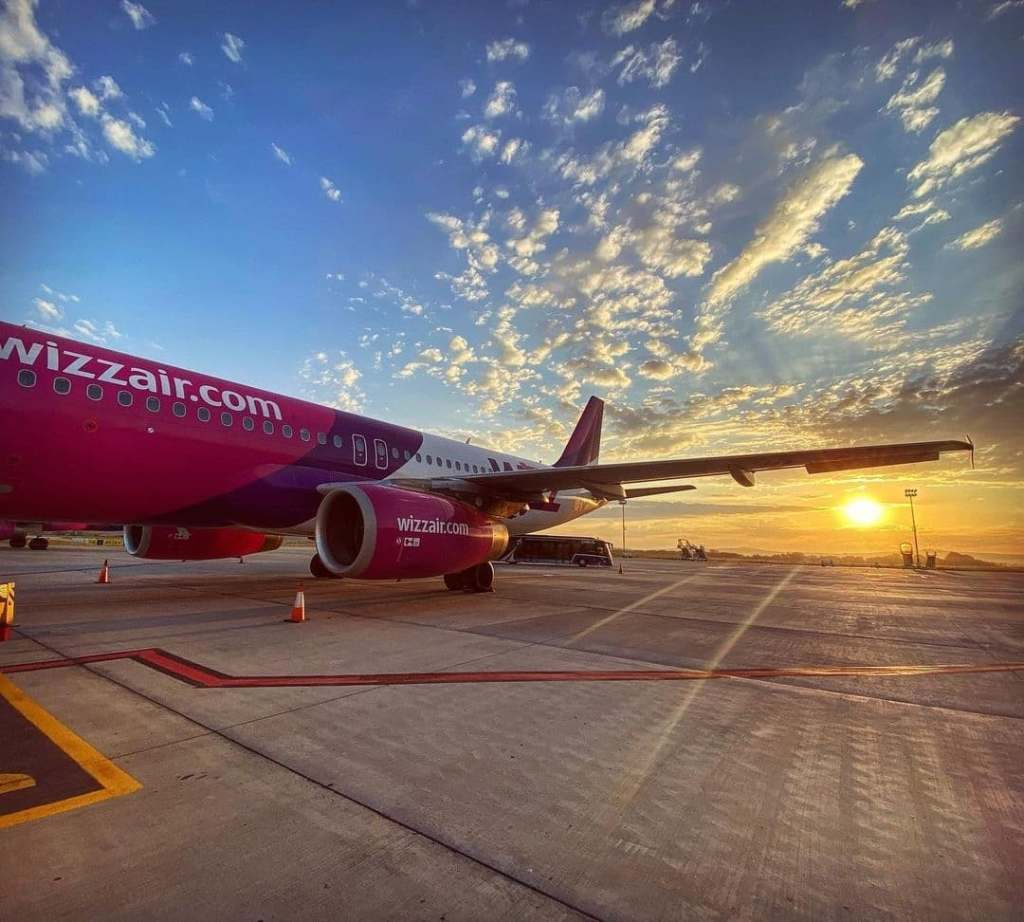 Wizz Air plane on the landing strip at Cluj-Napoca International Airport