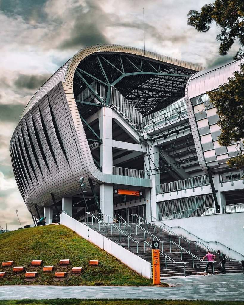 Exterior of Cluj Arena, where the famous Untold Festival is held and Universitatea  Cluj Football team has games in Cluj-Napoca, Romania