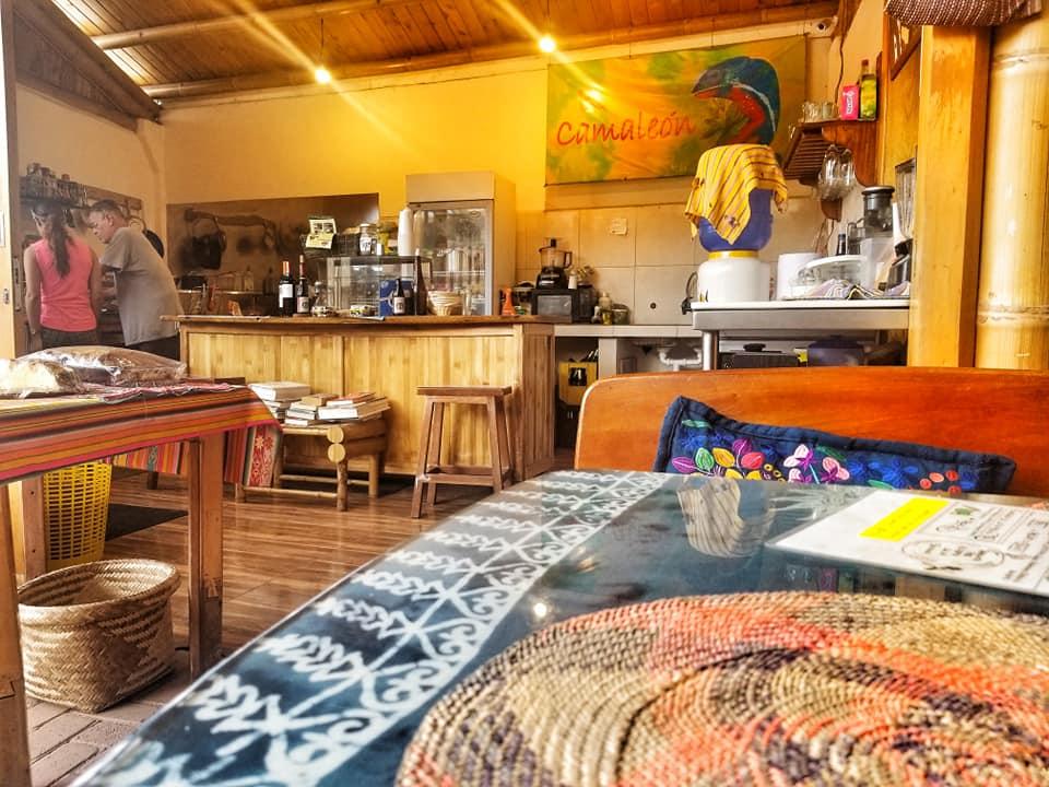 Interior of El Chamaleon cafe in Mindo, Ecuador