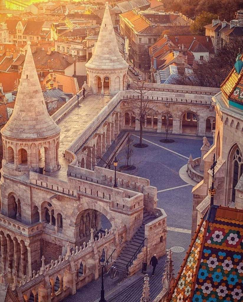 Alternate view from Fisherman's Bastion seen from a drone perspective.