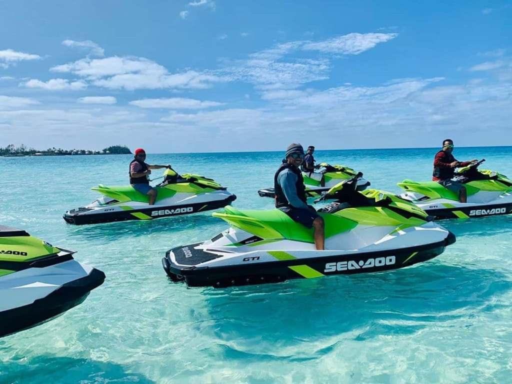 Group of people on jet skis in Bermuda