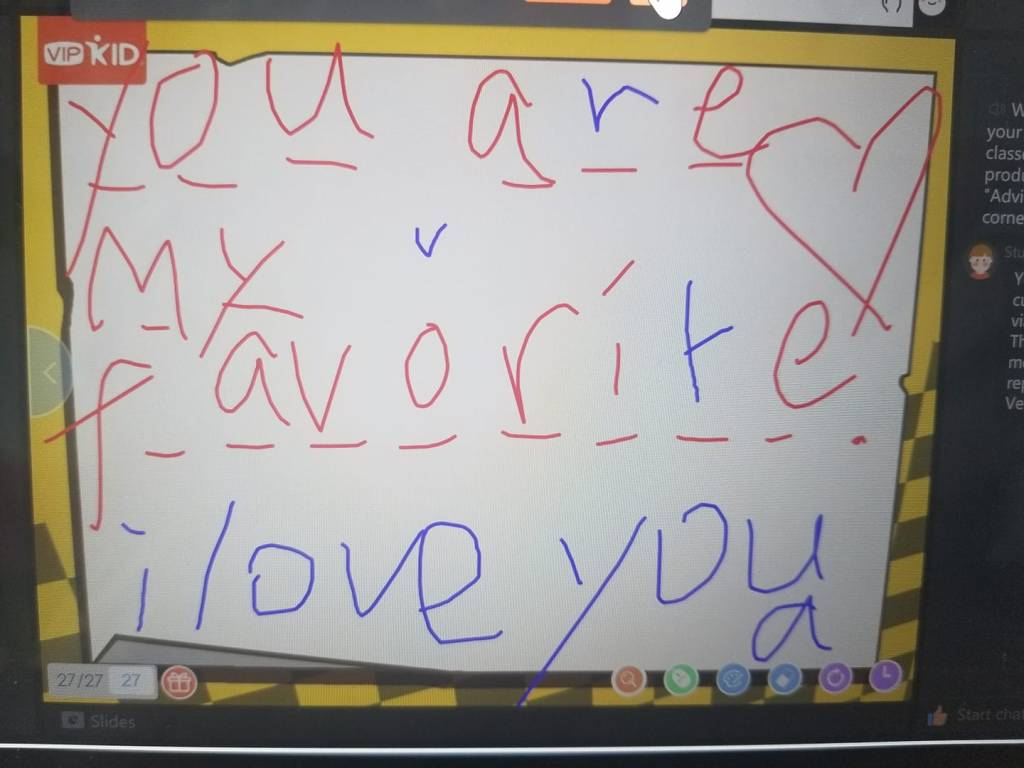 'You are my favorite' message from a student on an online English teaching platform.