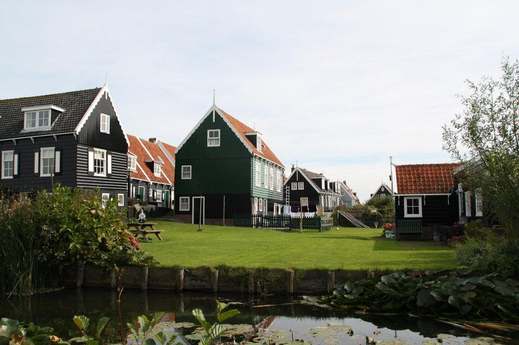 View of some dark brown and green houses in Marken, Netherlands.  In the foreground is a canal and some plants.  There is an open expanse of green grass in front of the buildings.