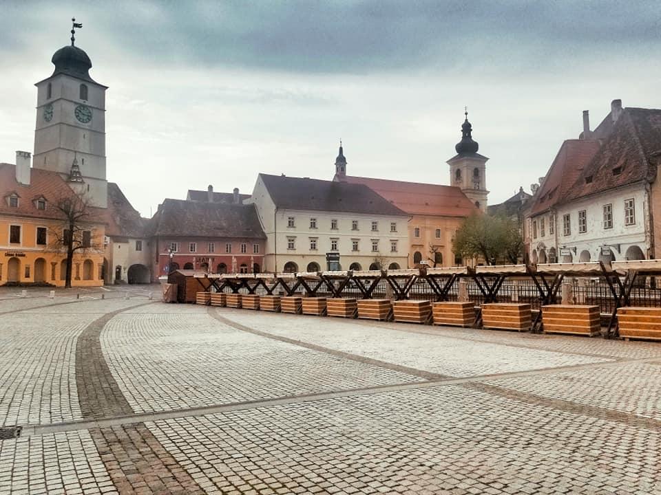 Empty Piata Mica in Sibiu, Romania