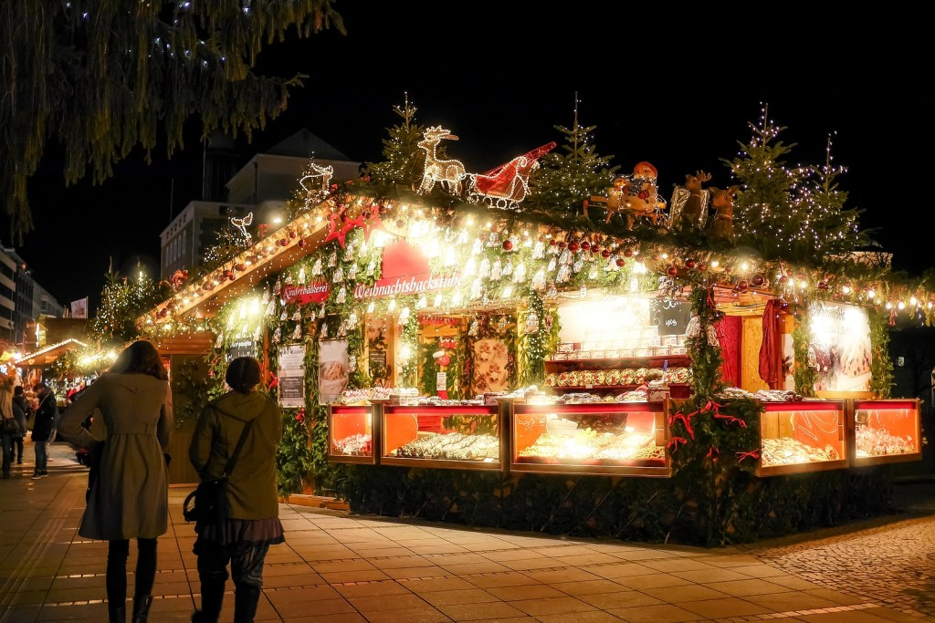 A well-lit and decorated display at the Stuttgart Christmas market in Germany.