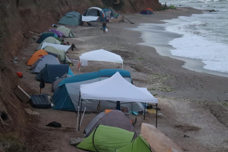 Tents line the shores in Vama Veche, Romania