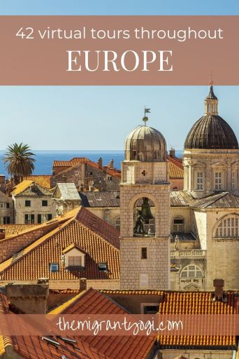 Pinterest graphic: Rooftops of Dubrovnik with text 42 Virtual Tours Throughout Europe