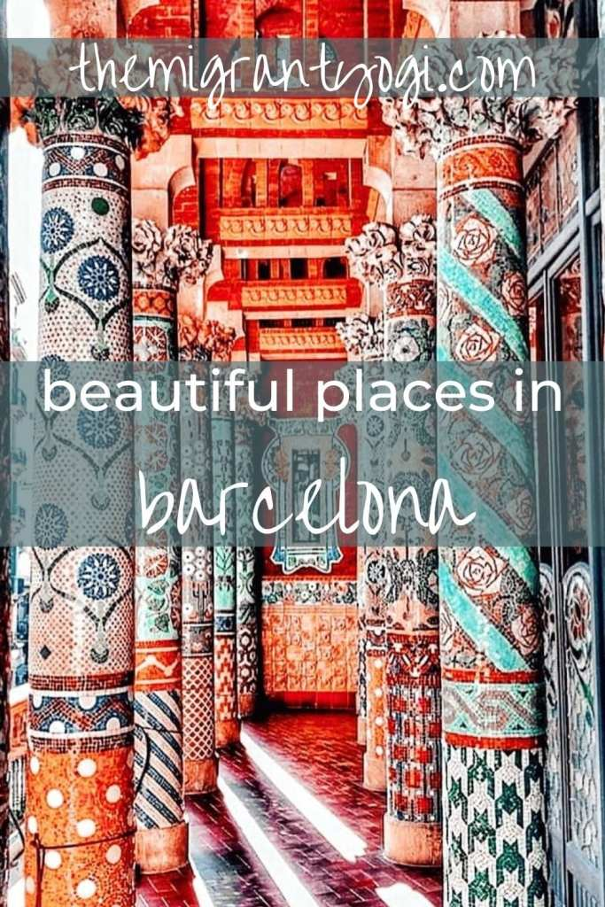 Pinterest graphic - Beautiful places in Barcelona with the Temple of Music colorful columns in the background.