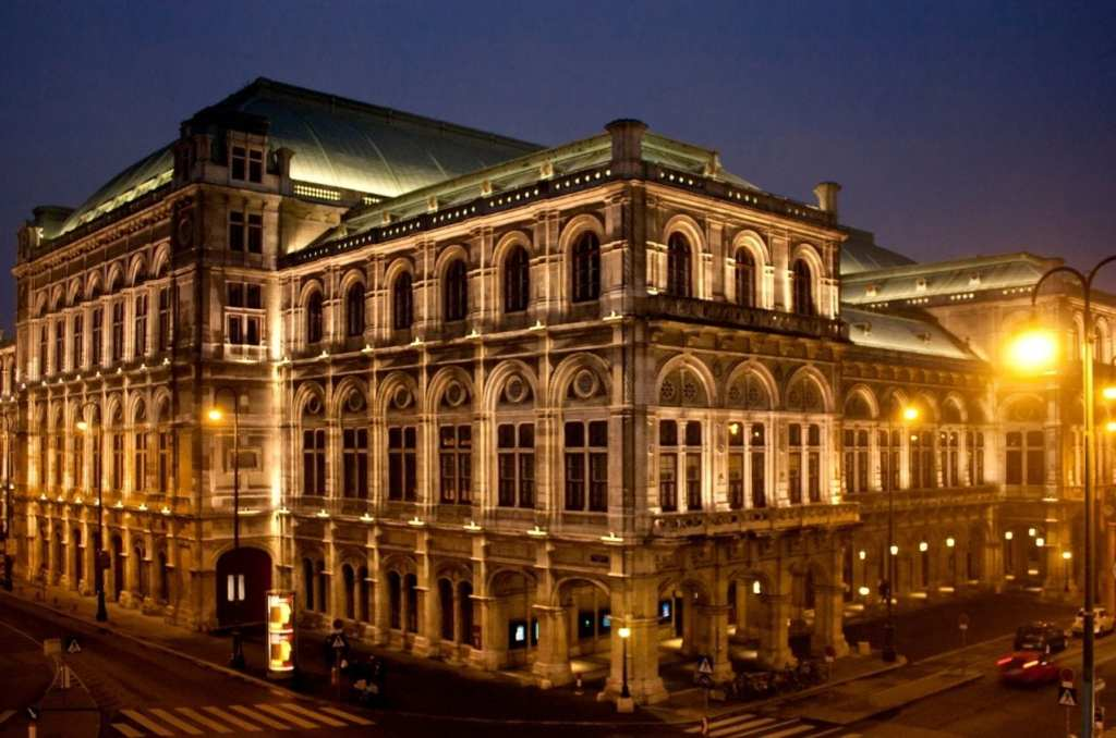 Vienna State Opera lit up at night in the Austrian capital.