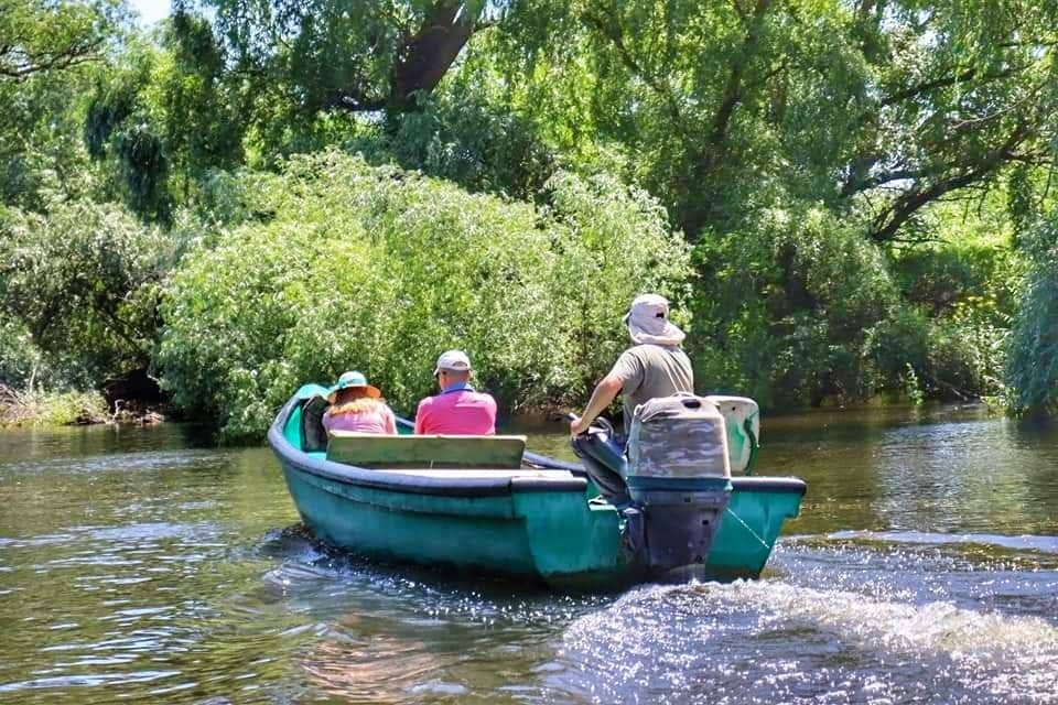 Small, green motorboat with 3 passengers traveling away from the camera