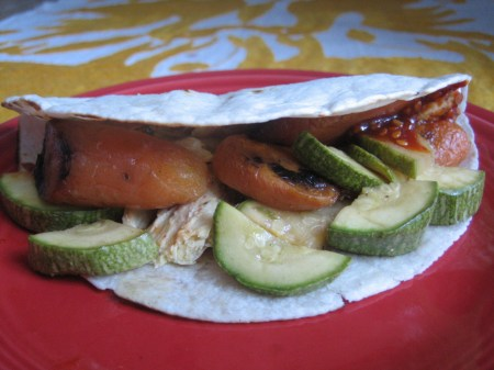 Roasted carrot tacos with zucchini, chicken, and red Korean chile sauce